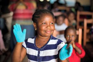 Ebola orphans Martina koroma (7) in the Ben Hirsch childrens facility supported by GOAL in Kenema Sierra Leone. Pic:Mark Condren