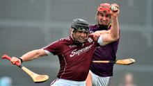 Aidan Harte of Galway in action against Paul Morris of Wexford during the Allianz Hurling League Division 1B Round 2 match between Galway and Wexford at Pearse Stadium in Galway. Photo by David Maher/Sportsfile