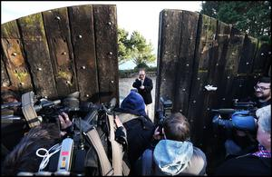 John Martin from the New Land League speaking to media at the gates of Gorse Hill in Killiney, Co Dublin