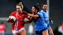 Katie Quirke of Cork is tackled by Martha Byrne of Dublin