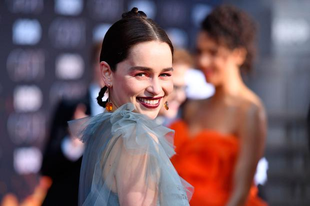 """British actress Emilia Clarke arrives for the """"Game of Thrones"""" eighth and final season premiere at Radio City Music Hall on April 3, 2019 in New York city. (Photo by Angela Weiss / AFP)"""