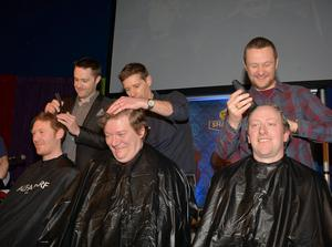 Keith Barry, Dermot Bannon, PJ Gallagher (f) Colin Clarke, Paul O'Neill, Conor Doyle - Today FM's The Ray Darcy Show broke their fifth World Record for Today FMs Shave or Dye. 179 heads and 179 shavers, recruited by the show, were gathered in The Round Room to undertake the record attempt. Pictures: Cathal Burke / VIPIRELAND.COM