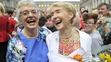 Senator Katherine Zappone and her partner Ann Louise Gilligan celebrate a landslide victory of a Yes vote after the referendum on same sex marriage. Photo: Clodagh Kilcoyne/Getty Images
