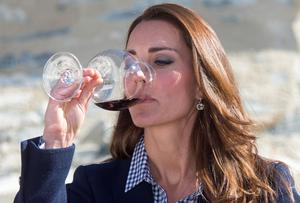Kate Middleton tastes some wine during a tour of the Amisfield Winery in Queenstown, during the seventh day of their official tour to New Zealand, quashing pregnancy rumours.