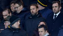 England manager Gareth Southgate in the stands before the match between Wolves and West Ham tonight.  REUTERS/Peter Powell
