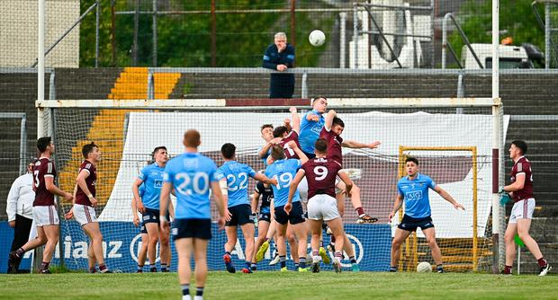 Dublin's Brian Fenton clears possession during the Allianz Football League Division 1 South win over Galway at St Jarlath's Park in Tuam, Galway. Photo: Ramsey Cardy/Sportsfile