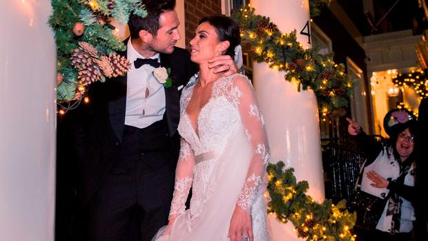 Frank Lampard and Christine Bleakley arrive for their wedding reception at the Arts Club in Mayfair, London