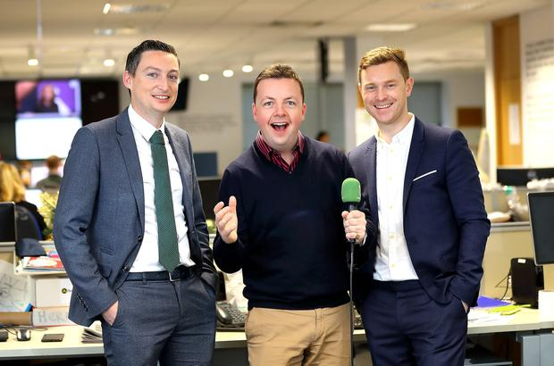 Kevin Doyle, left, and Philip Ryan, right, with this week's guest on The Floating Voter podcast, Oliver Callan
