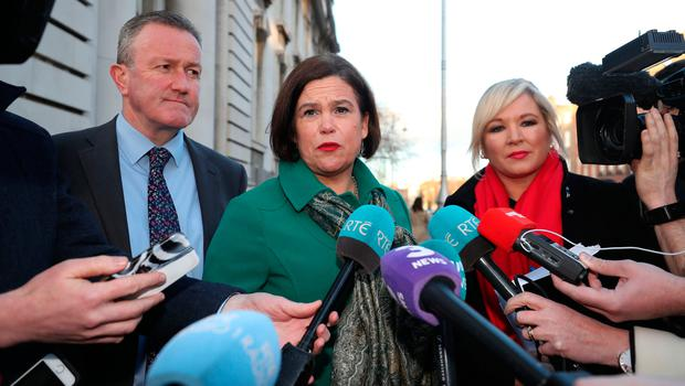 Sinn Fein's Conor Murphy, Mary Lou McDonald and Michelle O'Neill Photo credit: Niall Carson /PA Wire