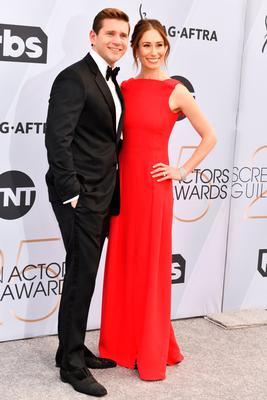 Allen Leech (L) and Jessica Herman arrive at the 25th Annual Screen ActorsGuild Awards at The Shrine Auditorium on January 27, 2019 in Los Angeles, California. (Photo by Rodin Eckenroth/Getty Images)