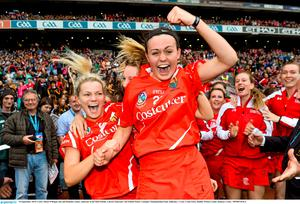 14 September 2014; Cork's Hazel O'Regan, left and Hannah Looney celebrate at the final whistle. Liberty Insurance All Ireland Senior Camogie Championship Final, Kilkenny v Cork, Croke Park, Dublin. Picture credit: Ramsey Cardy / SPORTSFILE