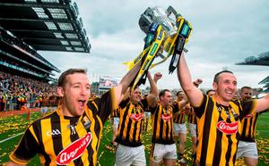 6 September 2015; Kilkenny's Richie Hogan, left, and Eoin Larkin celebrate with the Liam MacCarthy cup. GAA Hurling All-Ireland Senior Championship Final, Kilkenny v Galway, Croke Park, Dublin. Picture credit: David Maher / SPORTSFILE