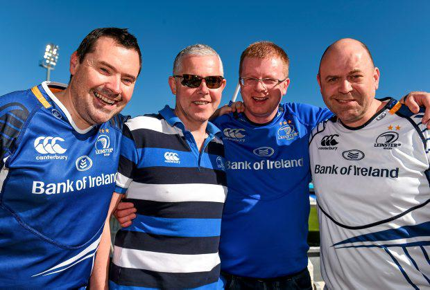 26 October 2014; Leinster supporters, from left, Alan Kerr, David Ryan, Nigel Salmon and Dave Kerr ahead of the game. European Rugby Champions Cup 2014/15, Pool 2, Round 2, Castres Olympique v Leinster. Stade Pierre Antoine, Castres, France. Picture credit: Stephen McCarthy / SPORTSFILE