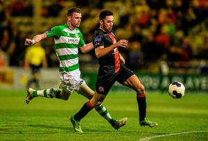 Bohemians' Roberto Lopes is put under pressure by Ciaran Kilduff of Shamrock Rovers during their league clash at Dalymount Park. Photo: David Maher / SPORTSFILE