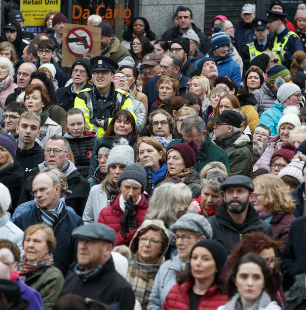 Large crowds at a public rally against                             violence in Drogheda. Photo:Mark Condren