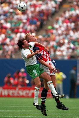 Ray Houghton of Ireland challenges Jostein Flo of Norway during the first half of their First Round 1994 World Cup encounter at Giants Stadium in East Rutherford, New Jersey. Photo: Getty Images.