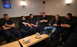 Paul Williams with the crew of LÉ George Bernard Shaw
