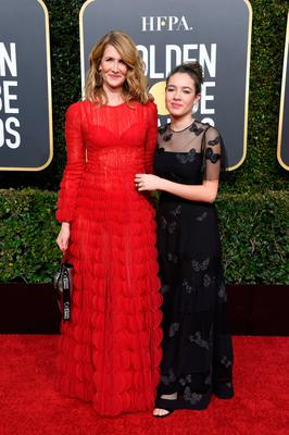 Laura Dern (L) and Jaya Harper attend the 76th Annual Golden Globe Awards at The Beverly Hilton Hotel on January 6, 2019 in Beverly Hills, California.  (Photo by Frazer Harrison/Getty Images)