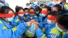 Primary school students wearing face masks to prevent the spread of the novel coronavirus disease (COVID-19) touch a globe with their eyes covered during a class for the upcoming Earth Day, in Donghai county of Lianyungang, Jiangsu province, China. Photo: REUTERS