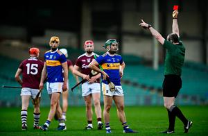Referee Johnny Murphy sends off Cathal Barrett of Tipperary during the GAA Hurling All-Ireland Senior Championship Quarter-Final match against Galway  at LIT Gaelic Grounds in Limerick. Photo by David Fitzgerald/Sportsfile