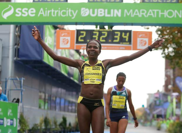 Helalia Johannes, from Namibia wins the womens race in the Dublin city Marathon. Picture credit; Damien Eagers 30/10/2016