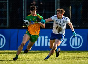 Michael Langan of Donegal in action against Niall Kearns of Monaghan during the Allianz Football League Division 1 match at Fr  Tierney Park in Ballyshannon, Donegal. Photo: Oliver McVeigh/Sportsfile