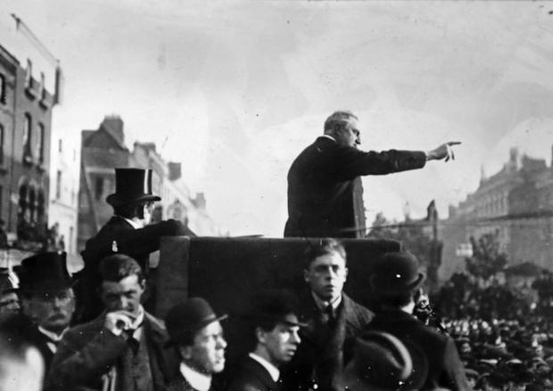 Irish Parliamentary Party leader John Redmond addresses a mass rally, c. 1912-15. Location unknown. (Part of the Independent Newspapers Ireland/NLI Collection)