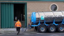 Spotlight on facility: Chemicals are delivered at the Leixlip Treatment Plant during the boil water notice periods at the end of last year. Photo: Colin Keegan, Collins Dublin