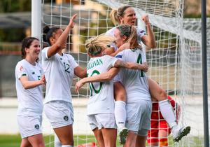 Diane Caldwell of Republic of Ireland, top, celebrates after scoring her side's first goal with team-mates during the UEFA Women's 2021 European Championships Qualifier against Montenegro. Photo by Stephen McCarthy/Sportsfile