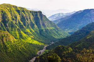 Valley among the mountains in Ethiopia