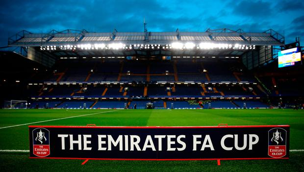 A view of FA Cup signage before the Emirates FA Cup, Quarter Final match at Stamford Bridge, London