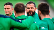 Ireland head coach Andy Farrell, right, speaks to his players prior to the Guinness Six Nations Rugby Championship match between Ireland and Scotland at the Aviva Stadium in Dublin. Photo: Brendan Moran/Sportsfile