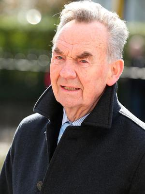 Former minister, Michael Woods arrives at St. Sylvester's Parish Church, Malahide at the funeral of his mother, Maureen Haughey.Credit: Damien Eagers