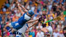 Waterford goalkeeper Stephen O'Keeffe, team mate Noel Connors and Wexford's Conor McDonald battle for possession during last year's SHC qualifier clash