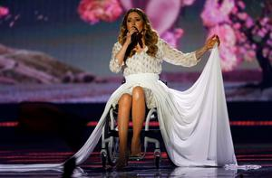 """Singer Monika Kuszynska representing Poland performs the song """"In The Name Of Love"""" during the second semifinal of the upcoming 60th annual Eurovision Song Contest In Vienna, May 21, 2015.  REUTERS/Leonhard Foeger"""