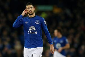 Kevin Mirallas wonders what could have been after missing a penalty kick during Everton's Premier League clash with West Bromwich Albion at Goodison Park. Photo: REUTERS/Andrew Yates