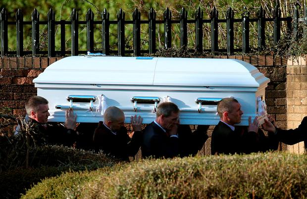 The coffin of 15-year-old Paige Doherty, is carried into St Margaret's Catholic Church in Clydebank, for a private receiving mass ahead of her funeral tomorrow. Photo: Andrew Milligan/PA Wire
