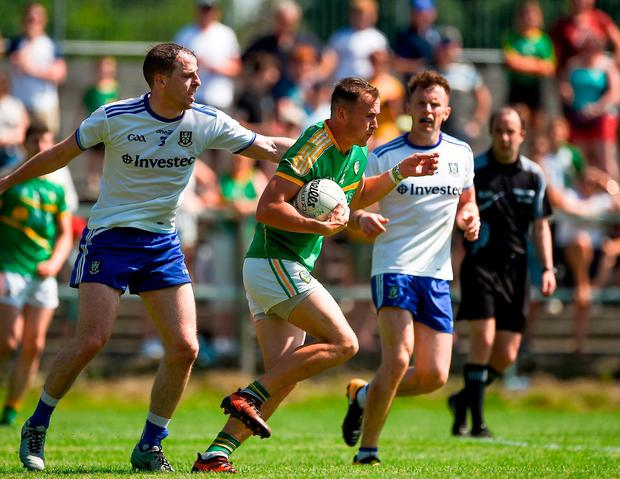 Michael McWeeney of Leitrim in action against Conor Boyle of Monaghan. Photo: Daire Brennan/Sportsfile