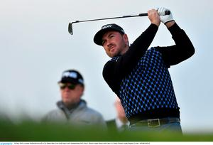 28 May 2015; Graeme McDowell tees off at 1st. Dubai Duty Free Irish Open Golf Championship 2015, Day 1. Royal County Down Golf Club, Co. Down. Picture credit: Ramsey Cardy / SPORTSFILE