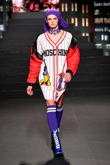 A model walks the runway during the Moschino x H&M - Runway at Pier 36 on October 24, 2018 in New York City.  (Photo by Mike Coppola/Getty Images)
