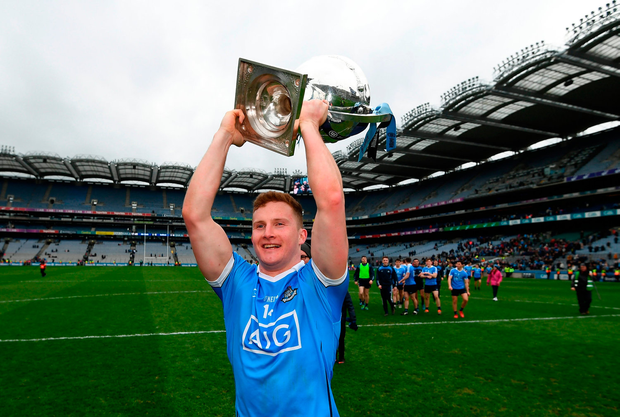 Dublin's Ciaran Kilkenny, who was the most consistent performer according to the Irish Independent ratings, celebrating his Allianz NFL Division 1 final win. Photo: Sportsfile