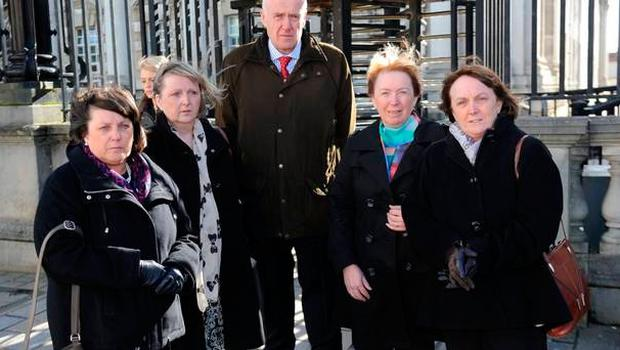 The family of murdered Maire Rankin outside court in 2015. From left, her daughters Aine Brodie and Mairead McElkerney, son-in-law Paul McElkerney, and daughters Emily Rankin and Dympna Lambert
