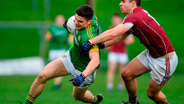 Meath's Donal Lenihan is tackled by Cathal Sweeney of Galway Photo: Ramsey Cardy/Sportsfile