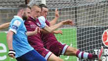 Drogheda United's Killian Phillips and James Brown put their best foot forward along with Shelbourne striker Ciaran Kilduff during their friendly on Saturday afternoon. Picture: Larry McQuillan