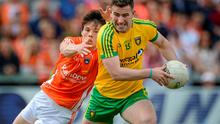 Patrick McBrearty, Donegal, in action against James Morgan, Armagh