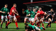 Tom Stewart of Ireland, centre, celebrates as Mark Hernan of Ireland scores his side's first try during the U20 Six Nations Rugby Championship match between Ireland and Wales at Irish Independent Park in Cork. Photo by Harry Murphy/Sportsfile