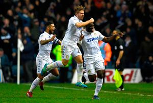 Souleymane Doukara of Leeds United (R) celebrates scoring his sides second goal with team mates during the Sky Bet Championship match between Leeds United and Nottingham Forest at Elland Road last night