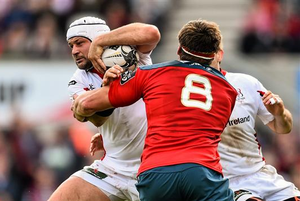 Rory Best, Ulster, is tackled by CJ Stander, Munster. Guinness PRO12, Round 21, Ulster v Munster. Kingspan Stadium, Ravenhill Park, Belfast (Ramsey Cardy / SPORTSFILE)