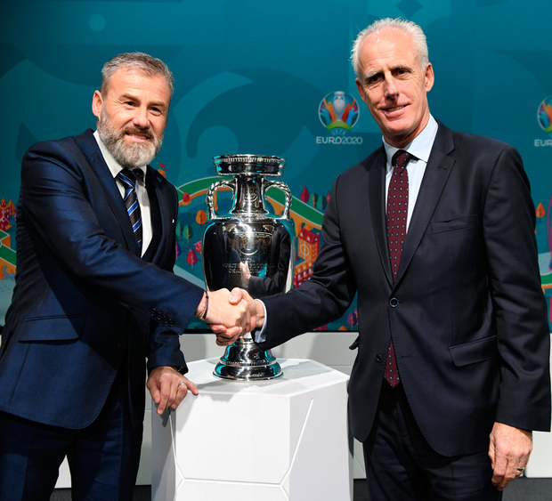 Rivals: Republic of Ireland manager Mick McCarthy (right) and Slovakia manager Pavel Hapal. Photo: UEFA via Sportsfile