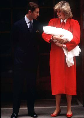 Princess Diana holding baby Prince Harry as she and Prince Charles leave St. Marys hospital in London, 1984